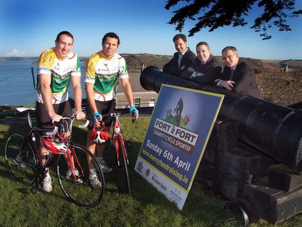 Pictured at the launch of the Forthcoming Fort2Fort Charity Cycle Sportif around Cork Harbour on April 6th 2014, were from left,  Cork Hurling Greats, John Gardiner & Seán Óg O'hAlpín  ; John O' Connor, Victoria Cycles ; Micheál Sheridan, Mercy Hospital Foundation and Tom Leahy, Ulster Bank. (Picture: Adrian O'Herlihy) NO REPRODUCTION FEE Jan 9th 2014